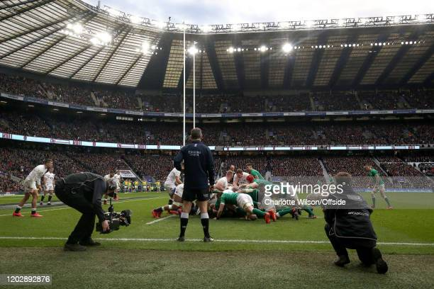 General view of Twickenham as TV cameras and sound technicians swarm the touchline during a scrum during the 2020 Guinness Six Nations match between...