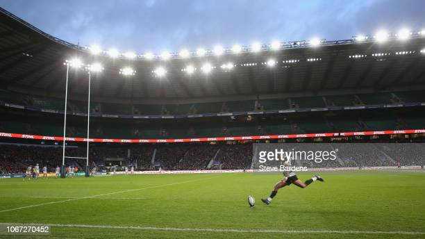 General View of Twickenham Stadium as Elton Jantjies of the Barbarians takes a conversion kick during the Killick Cup match between Barbarians and...