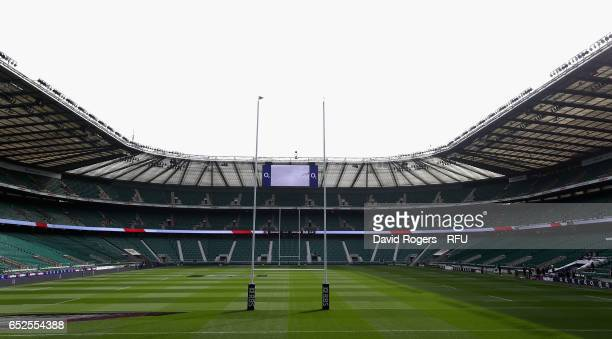 A general view of Twickenham Stadium prior to the RBS Six Nations match between England and Scotland at Twickenham Stadium on March 11 2017 in London...