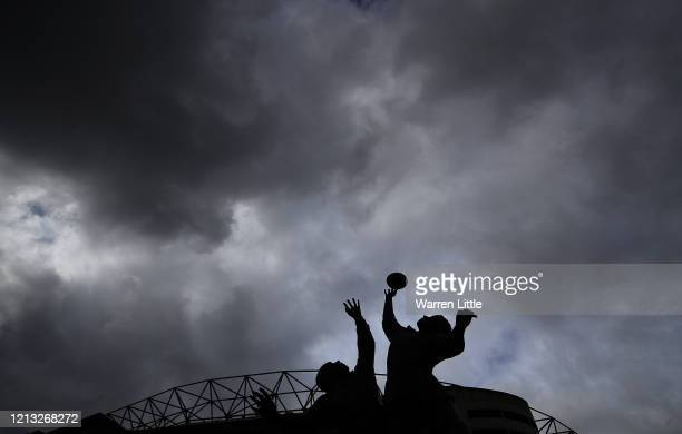 General view of Twickenham Stadium which is closed till further notice as the Covid-19 virus forces sporting events to be cancelled globally,...