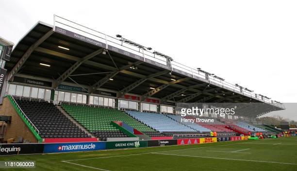 General view of Twickenham Stoop before the Gallagher Premiership Rugby match between Harlequins and Worcester Warriors at Twickenham Stoop on...