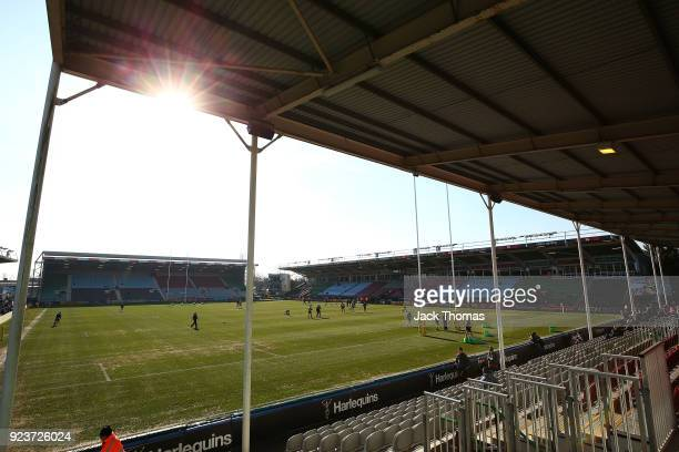 A general view of Twickenham Stoop prior to the Aviva Premiership match between Harlequins and Newcastle Falcons at Twickenham Stoop on February 24...