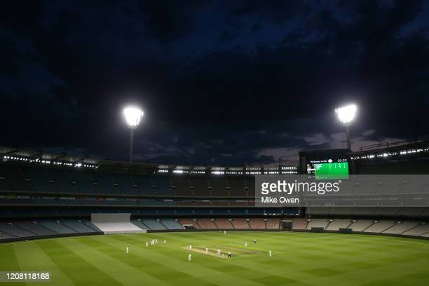 A general view of twilight play during the Four Day match between Australia A and the England Lions at Melbourne Cricket Ground on February 23 2020...