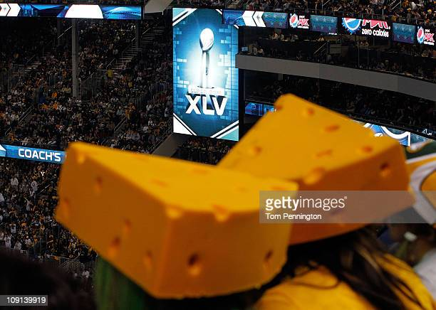 General view of two cheeseheads worn by Green Bay Packers fans as the Packers take on the Pittsburgh Steelers during Super Bowl XLV at Cowboys...