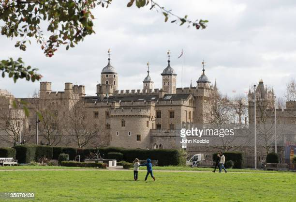 A general view of two children playing tag in Trinity Square Gardens opposite the Tower of London on March 13 2019 in London England