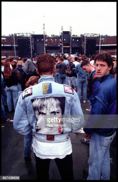 General view of U2 fans in the audience from the back of the crowd in Feyenoord Stadium before a concert on the Zoo TVZooropa Tour De Kuip Rotterdam...