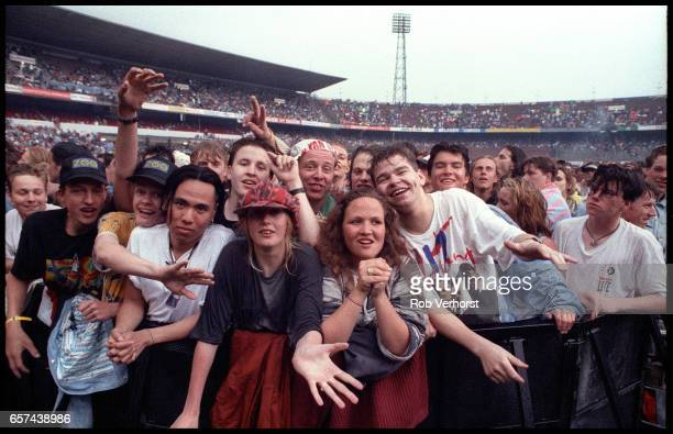 General view of U2 fans in the front rows of the audience at Feyenoord Stadium before a concert on the Zoo TVZooropa Tour De Kuip Rotterdam...