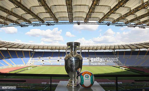 A general view of UEFA Euro Trophy in the Stadio Olimpico during the UEFA Euro Roma 2020 Official Logo unveiling at Palazzo delle Armi on September...