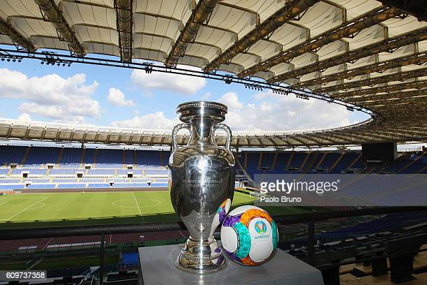 General view of UEFA Euro Trophy in the Stadio Olimpico during the UEFA Euro Roma 2020 Official Logo unveiling at Palazzo delle Armi on September 22,...