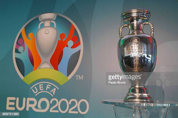 A general view of UEFA Euro Trophy in the Stadio Olinpico during the UEFA Euro Roma 2020 Official Logo unveiling at Palazzo delle Armi on September...