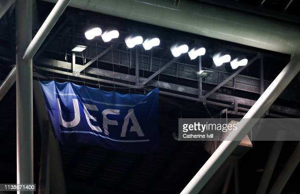General view of UEFA flag during the 2020 UEFA European Championships group D qualifying match between Republic of Ireland and Georgia at Aviva...