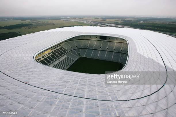 General view of unfinished Allianz Arena football stadium on April 18, 2005 in Munich, Germany. The Allianz Arena will be the future home stadium of...