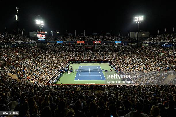 General view of Uniprix Stadium between Andy Murray of Great Britain and Kei Nishikori of Japan during day six of the Rogers Cup at Uniprix Stadium...