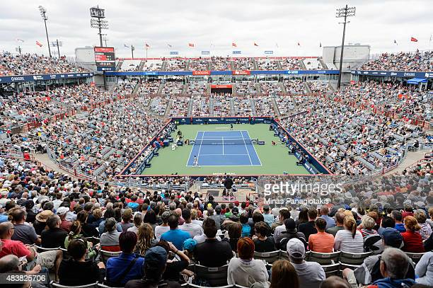 General view of Uniprix Stadium during the match between Novak Djokovic of Serbia and Jack Sock of the USA on day four of the Rogers Cup on August 13...
