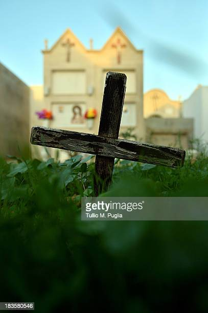 A general view of unnamed migrants' graves at Lampedusa cemetery on October 7 2013 in Lampedusa Italy The search for bodies continues off the coast...