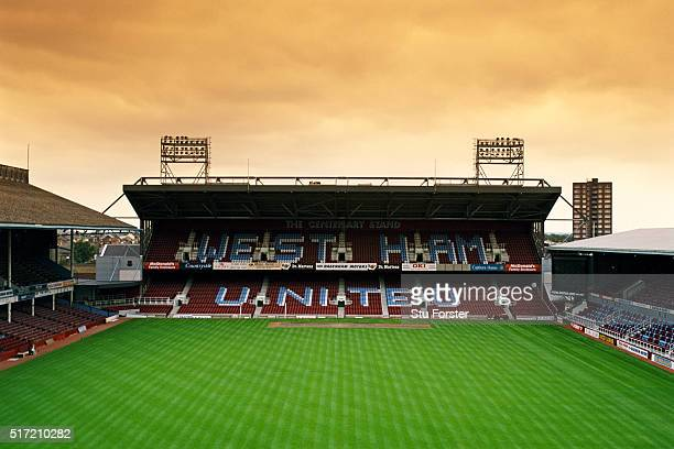 A general view of Upton Park or the Boleyn Ground home of West Ham United pictured in July 1997 in London England