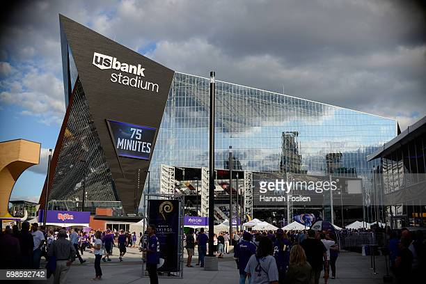 A general view of US Bank Stadium as fans arrive before the preseason game between the Minnesota Vikings and the Los Angeles Rams on September 1 2016...