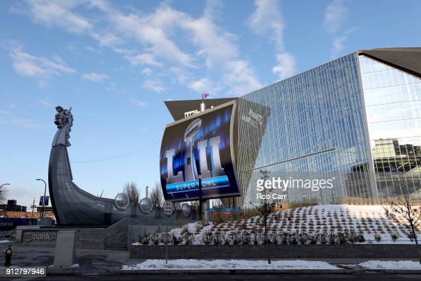 A general view of US Bank Stadium on January 31 2018 in Minneapolis Minnesota Super Bowl LII will be played between the New England Patriots and the...