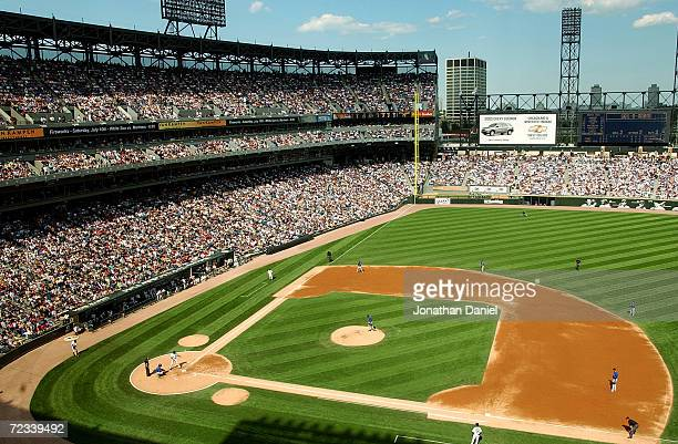 A general view of US Cellular Field during a game between the Chicago White Sox and the Chicago Cubs on June 26 2004 in Chicago Illinois The White...