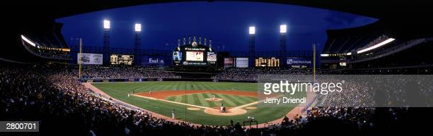 General view of US Cellular Field from behind home plate lower level at dusk during the American League game between the Cleveland Indians and the...