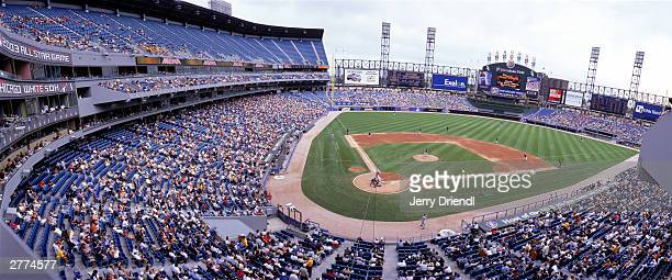 General view of US Cellular Field from the press box level during the American League game between the Cleveland Indians and the Chicago White Sox at...