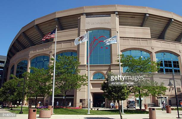 General view of U.S. Cellular Field, home of the Chicago White Sox and the 2003 All-Star game during interleague play between Chicago White Sox take...