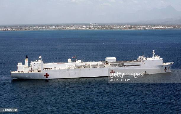 General view of USNS Mercy off the coast of Sumatra 23 July 2006 during medical treatment in the province of Banda Aceh USNS Mercy has spent nine...