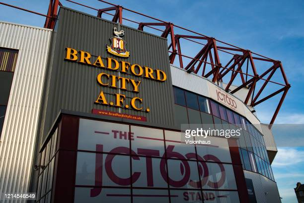 A general view of Valley Parade known as the Utilita Energy Stadium home of Bradford City Football Club on March 23 2020 in Bradford England
