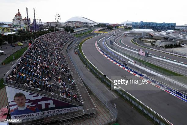 General view of Valtteri Bottas of Finland driving the Mercedes AMG Petronas F1 Team Mercedes W11 during qualifying ahead of the F1 Grand Prix of...