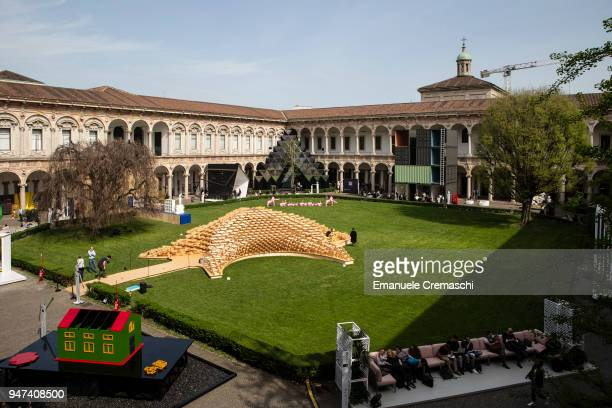 A general view of various design installations in the courtyard of the University of Milan on April 16 2018 in Milan Italy Every year Salone and...