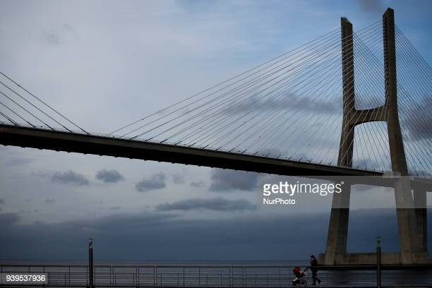 General view of Vasco da Gama Bridgein Parque das Nacoes outskirts of Lisbon March 28 2018 The Vasco da Gama bridge extends over the Tagus estuary in...