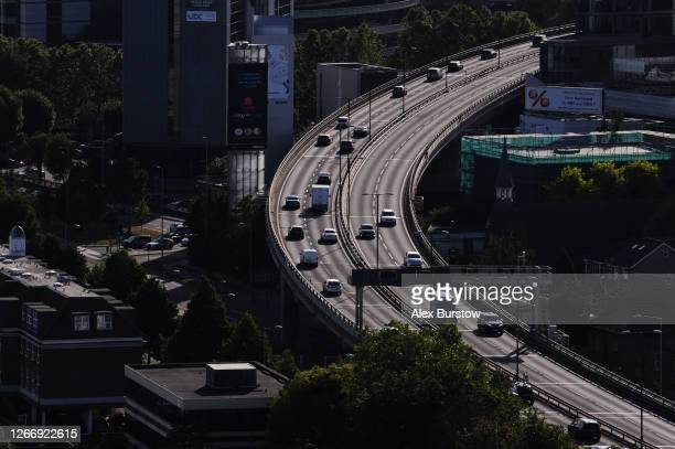 General view of vehicles on the Chiswick flyover which carries the M4 motorway through part of West London on July 29, 2020 in London, England.