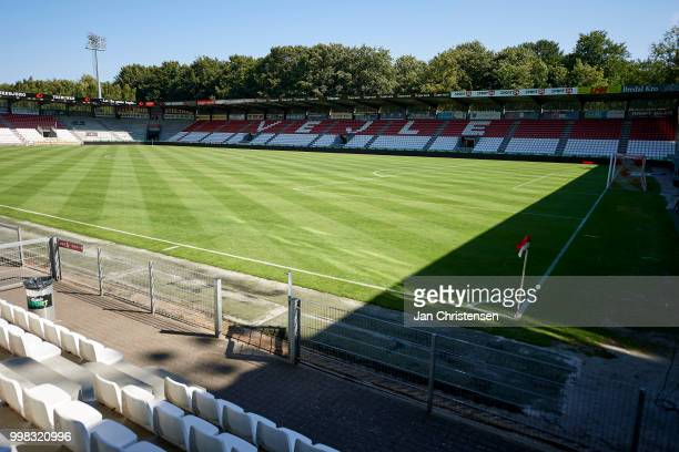 General view of Vejle Stadion prior to the Danish Superliga match between Vejle Boldklub and Hobro IK at Vejle Stadion on July 13 2018 in Vejle...