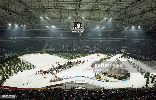 A general view of Veltins Arena is seen during the Veltins Biathlon World Team Challenge 2005 at the Veltins Arena on December 30 2005 in...