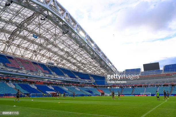 A general view of venue prior to the Mexico training session at the FIFA Confederations Cup Russia 2017 held at Fisht Olympic Stadium on June 20 2017...