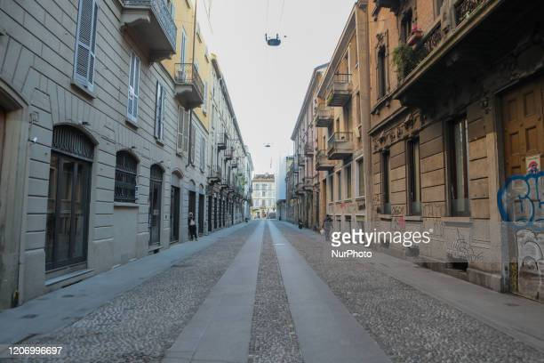 General view of Via Vigevano in Navigli district March 13 2020 Italy shut all stores except for pharmacies and food shops in a desperate bid to halt...