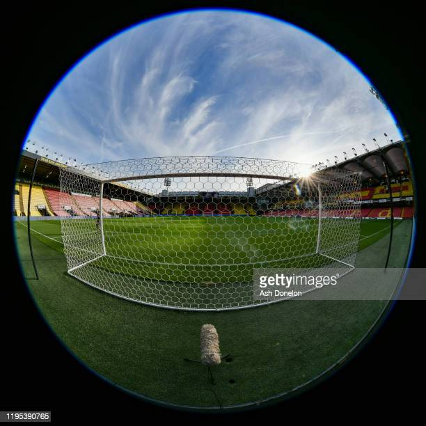 General view of Vicarage Road ahead of the Premier League match between Watford FC and Manchester United at Vicarage Road on December 22, 2019 in...