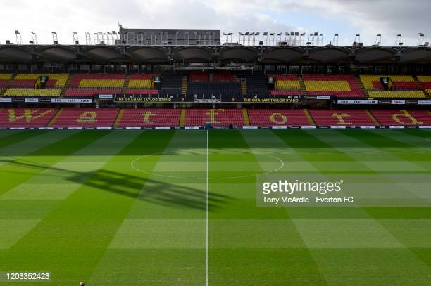 General view of Vicarage Road before the Premier League match between Watford and Everton at Vicarage Road on February 1, 2020 in Liverpool, England.