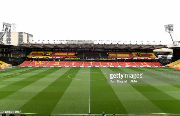General view of Vicarage Road the home stadium of Watford during the Premier League match between Watford FC and Wolverhampton Wanderers at Vicarage...