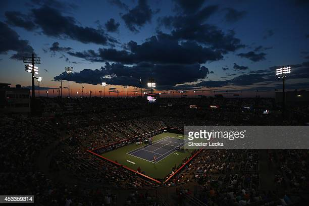 A general view of Victoria Azarenka of Belarus and Agnieszka Radwanska of Poland in their quarterfinal match during the Rogers Cup at Uniprix Stadium...