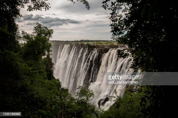 A general view of Victoria Falls in Livingstone on January 23 2020 The Victoria Falls a UNESCO world heritage site measuring 108 meters high and...