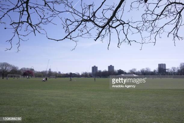 General view of Victoria Park on March 24, 2020 in London, England. British Prime Minister, Boris Johnson, announced strict lockdown measures urging...