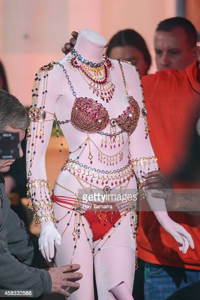 """General view of Victoria's Secret bejeweled $2.5 million Dream Angels Fantasy Bras at the """"Good Morning America"""" taping at the ABC Times Square..."""