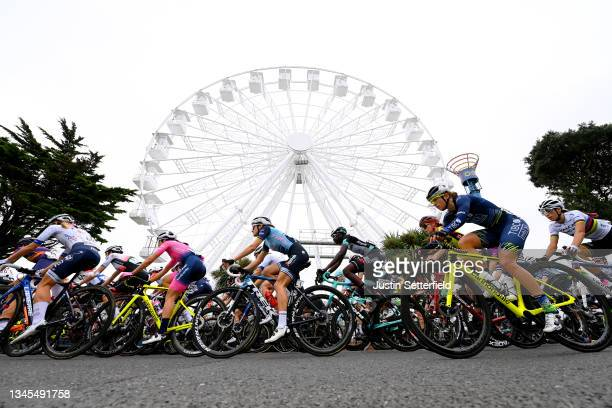 General view of Victorie Guilman of France and Team FDJ Nouvelle - Aquitaine Futuroscope, Margaux Vigie of France and Team Valcar - Travel & Service,...