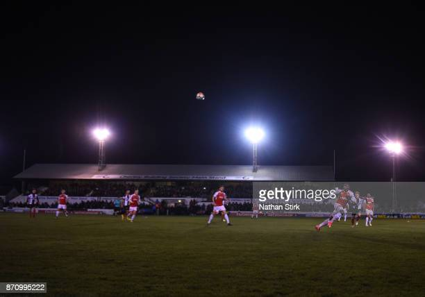 General view of Victory Park during The Emirates FA Cup First Round match between Chorley and Fleetwood Town at Victory Park on November 6 2017 in...