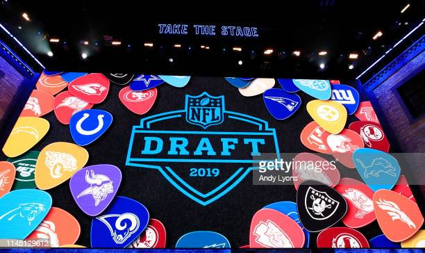 A general view of video board signage during the first round of the 2019 NFL Draft on April 25 2019 in Nashville Tennessee