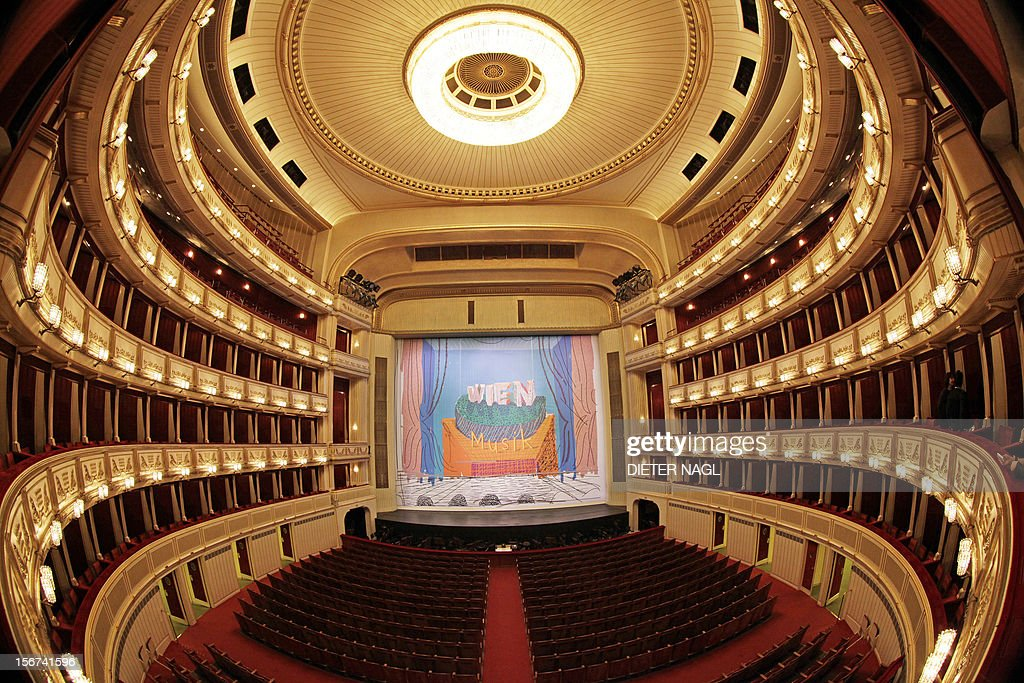 A general view of Vienna State Opera's auditorium with a new iron curtain painting by British painter David Hockney on November 20, 2012.