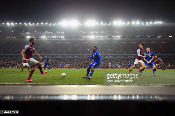 A general view of Villa Park as Ahmed Elmohamady of Aston Villa takes on Junior Hoilett of Cardiff City during the Sky Bet Championship match between...