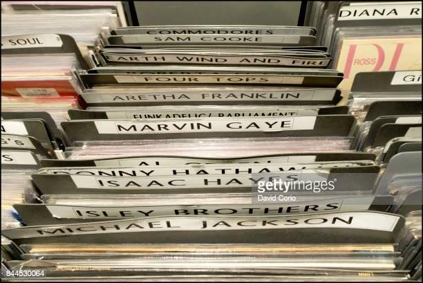 General view of vinyl albums in the racks at Sister Ray record shop Berwick Street Soho London UK on 4 September 2017