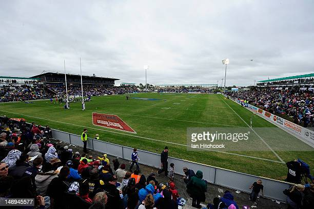 A general view of Virgin Australia Stadium before the start of the round 16 NRL match between the Canterbury Bulldogs and the Melbourne Storm at...